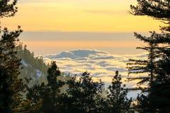 Puesta del sol hermosa del paisaje Imagen de archivo