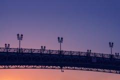 Puesta del sol hermosa del puente del ` s del patriarca Fotografía de archivo