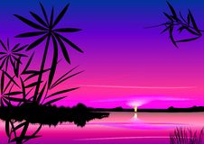 Puesta del sol hermosa del vector sobre el lago Imagenes de archivo