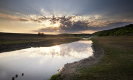 Puesta del sol hermosa del verano fotos de archivo