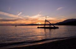 Puesta del sol hermosa en bahía inglesa imágenes de archivo libres de regalías