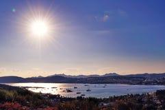 Puesta del sol hermosa en Bodrum Fotografía de archivo