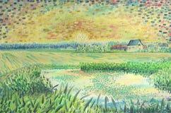 Puesta del sol hermosa en el campo Pintura al óleo libre illustration