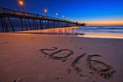 Puesta del sol hermosa en el embarcadero imperial de la playa, San Diego, California, los E.E.U.U. Foto de archivo libre de regalías