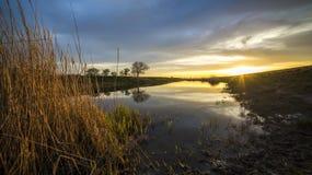 Puesta del sol hermosa en el río en el pueblo Foto de archivo libre de regalías