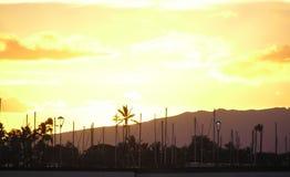 Puesta del sol hermosa en Hawaii imagen de archivo libre de regalías
