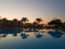 Puesta del sol hermosa en Hurghada fotografía de archivo libre de regalías