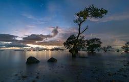 Puesta del sol hermosa en la costa Fotografía de archivo libre de regalías