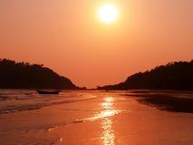 Puesta del sol hermosa en la India Fotografía de archivo libre de regalías