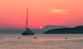 Puesta del sol hermosa en Magaluf Mallorca Fotos de archivo