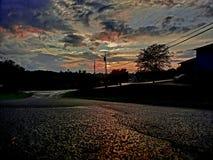 Puesta del sol hermosa en Ohio foto de archivo