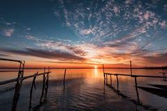 Puesta del sol hermosa en Ravda, Bulgaria Fotos de archivo libres de regalías