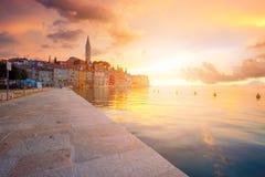Puesta del sol hermosa en Rovinj Imágenes de archivo libres de regalías