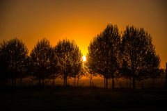 Puesta del sol hermosa en una granja del campo. La Argentina, Suramérica Fotos de archivo libres de regalías