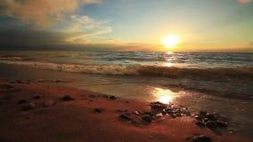Puesta del sol hermosa en una playa arenosa tropical almacen de video