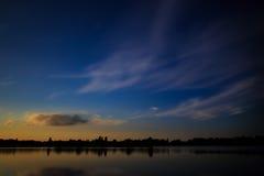 Puesta del sol hermosa, hecha en la zona oriental de los Países Bajos Fotos de archivo