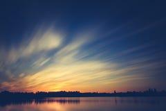 Puesta del sol hermosa, hecha en la zona oriental de los Países Bajos Fotografía de archivo libre de regalías