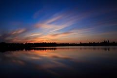 Puesta del sol hermosa, hecha en la zona oriental de los Países Bajos Imagen de archivo libre de regalías