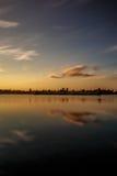 Puesta del sol hermosa, hecha en la zona oriental de los Países Bajos Imagenes de archivo