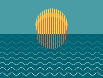 Puesta del sol hermosa minimalista sobre el océano imagen de archivo
