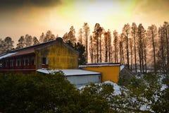 Puesta del sol hermosa que hace turismo en un templo Fotografía de archivo