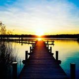 Puesta del sol hermosa, romántica Foto de archivo