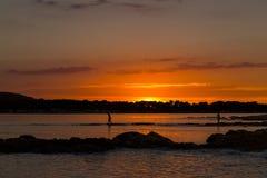 Puesta del sol hermosa sobre el mar adriático, con el cloudscape dramático hermoso Fotografía de archivo