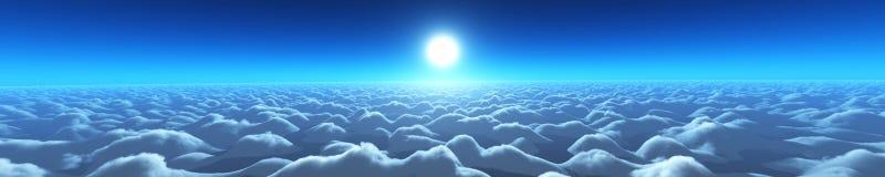 Puesta del sol hermosa sobre las nubes Imagenes de archivo