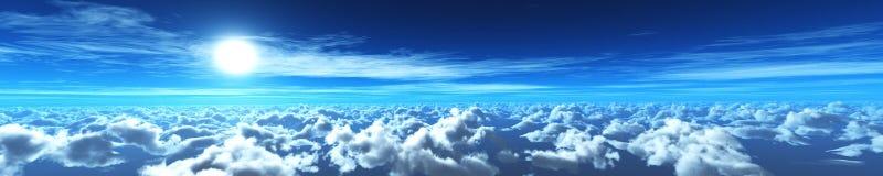 Puesta del sol hermosa sobre las nubes Foto de archivo