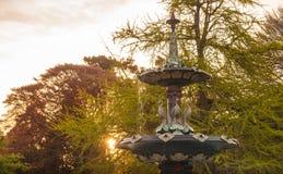 Puesta del sol hermosa sobre los jardines botánicos de Christchurch con la fuente del pavo real una escultura icónica en Christch foto de archivo libre de regalías