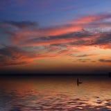 Puesta del sol hermosa y un barco Fotografía de archivo libre de regalías