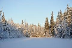 Puesta del sol hivernal en el lago Fotos de archivo