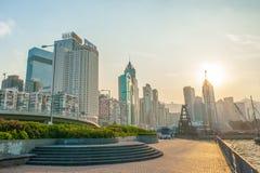 Puesta del sol Hong-Kong Fotografía de archivo