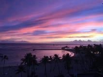 Puesta del sol Honolulu de Hawaiin fotografía de archivo