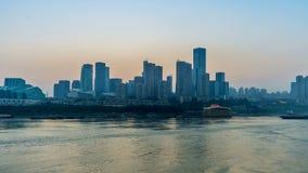 Puesta del sol Horizonte de la ciudad de Chongqing Lapso de tiempo almacen de video