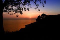 Puesta del sol Igrane Croatia Fotografía de archivo
