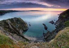Puesta del sol II de la costa de Pembrokeshire Imagen de archivo libre de regalías