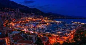 Puesta del sol a Iluminated Monte Carlo (día a la noche) almacen de video