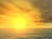 Puesta del sol implacable sobre el mar Fotos de archivo