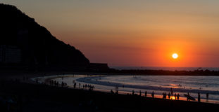 Puesta del sol imponente de la playa Foto de archivo
