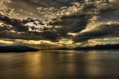Puesta del sol impresionante Foto de archivo libre de regalías