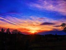 Puesta del sol increíble Imagen de archivo libre de regalías