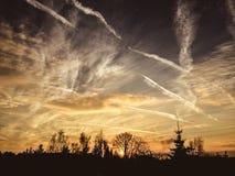 Puesta del sol increíble Foto de archivo libre de regalías