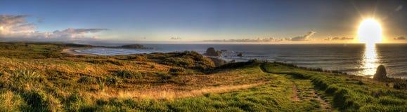 Puesta del sol increíble de Nueva Zelandia Imagen de archivo libre de regalías