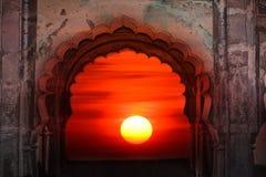 Puesta del sol india antigua Fotos de archivo libres de regalías