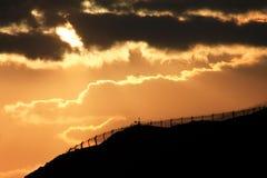 Puesta del sol industrial fotos de archivo libres de regalías