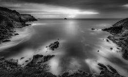 Puesta del sol inminente, punto de Pentire, Cornualles fotos de archivo libres de regalías