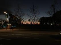Puesta del sol del invierno - East Village fotografía de archivo