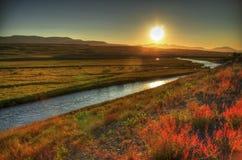 Puesta del sol islandesa Imagen de archivo libre de regalías