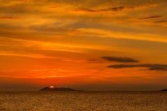 Puesta del sol jónica Fotografía de archivo libre de regalías